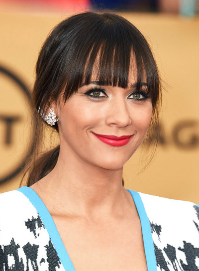 Rashida Jones with a Long, Brown, Ponytail Hairstyle with Bangs Pictures