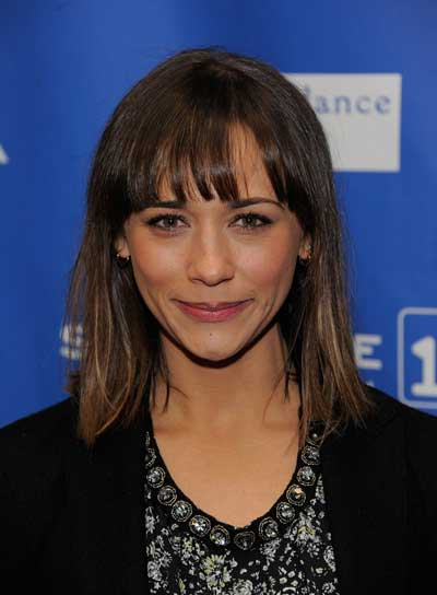 Rashida Jones Medium, Straight, Chic, Brunette Hairstyle with Bangs