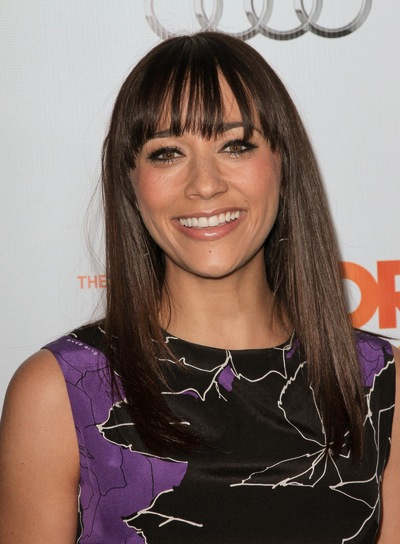 Rashida Jones Medium, Layered, Straight, Chic, Brunette Hairstyle with Bangs