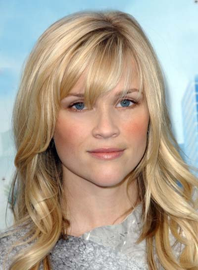 Reese Witherspoon Long, Wavy, Blonde Hairstyle with Bangs