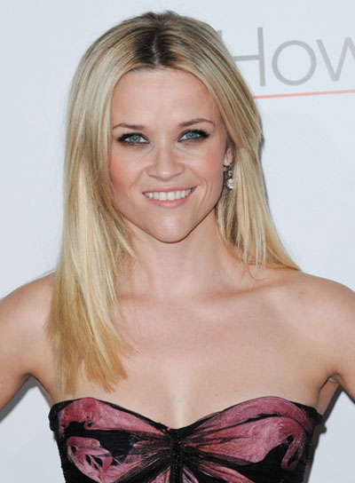 Reese Witherspoon Medium, Chic, Layered, Straight, Blonde Hairstyle