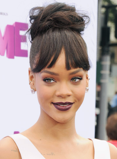 Rihanna with a Long, Brunette, Chic, Updo Hairstyle Pictures