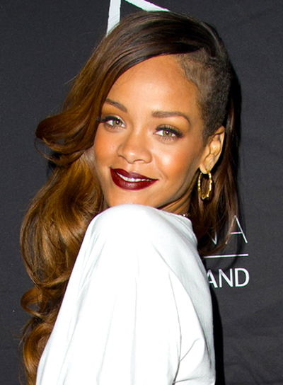 Rihanna's Long, Wavy, Edgy, Party Hairstyle