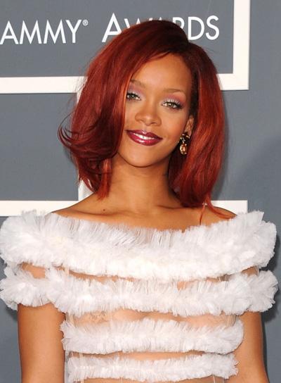 Rihanna Short, Straight, Red Bob