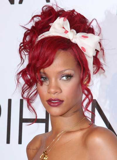 Rihanna Curly, Red, Funky Updo