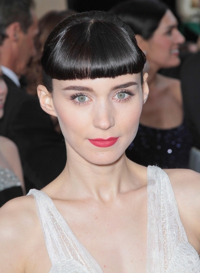 Rooney Mara, Funky, Black Updo with Straight Bangs