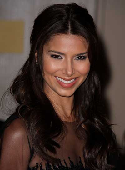 Roselyn Sanchez Long, Wavy, Tousled, Romantic, Brunette Half Updo