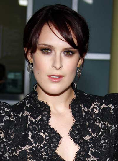 Rumer Willis Sophisticated, Brunette Updo with Bangs