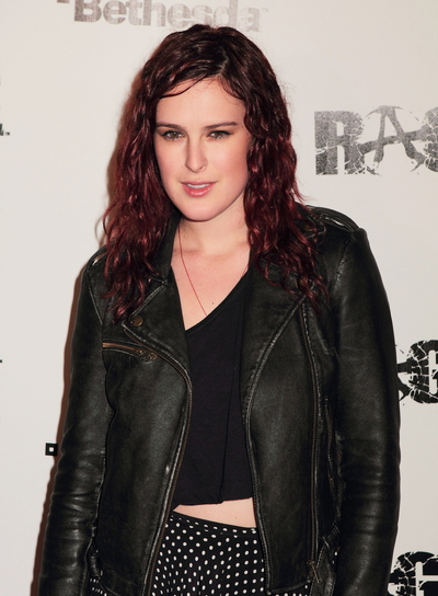 Rumer Willis Medium, Edgy, Curly, Red Hairstyle