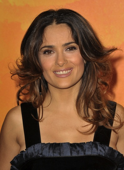 Salma Hayek Layered, Curly, Chic, Brunette Hairstyle