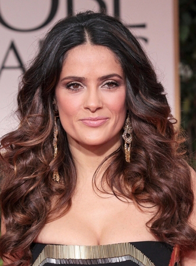 Salma Hayek Long, Thick, Curly, Brunette, Formal Hairstyle