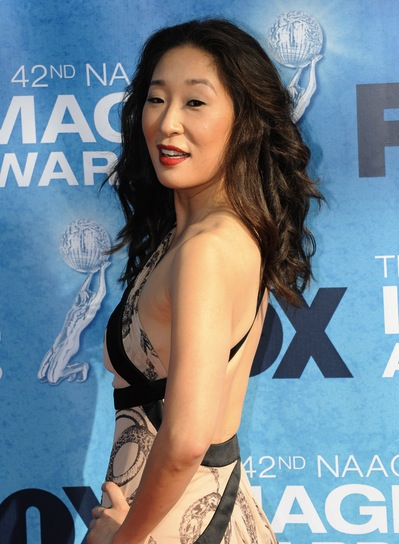 Sandra Oh Long, Romantic, Curly, Black Hairstyle