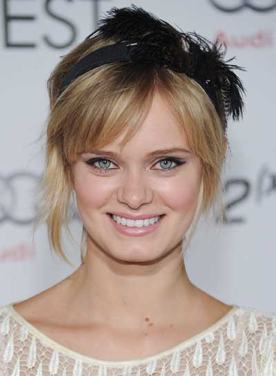 Sara Paxton Sophisticated, Blonde Updo with Bangs
