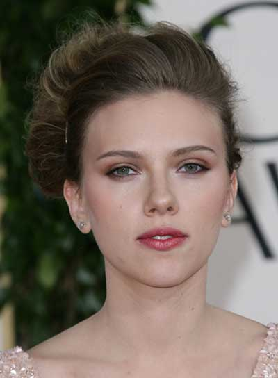 Scarlett Johansson Straight, Sophisticated, Brunette Updo