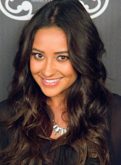 Shay Mitchell's Long, Brunette, Wavy, Party Hairstyle