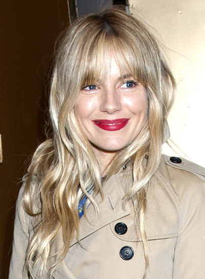 Sienna Miller's Long, Blonde, Wavy Hairstyle with Bangs