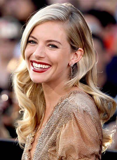 Sienna Miller Long, Wavy, Blonde Hairstyle