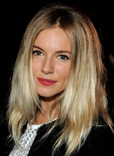 Sienna Miller Layered, Straight, Blonde Hairstyle