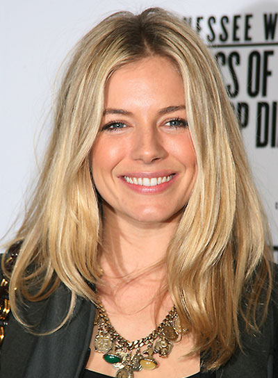 Sienna Miller Medium, Straight, Blonde Hairstyle