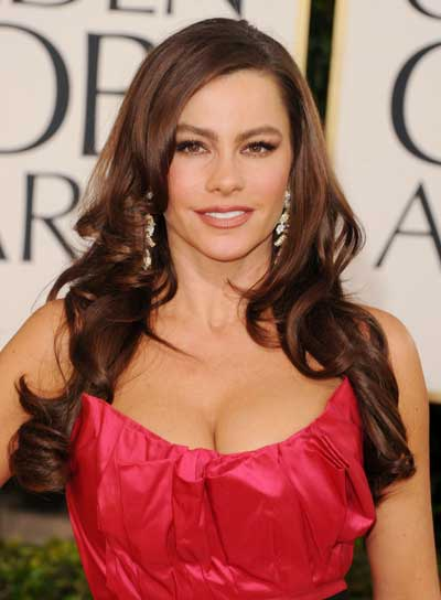 Sofia Vergara Long, Curly, Layered, Brunette Hairstyle