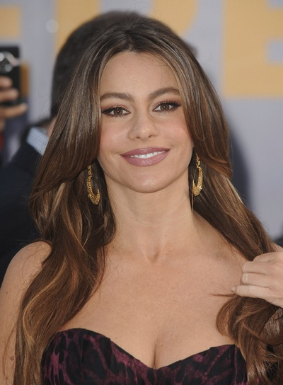 Sofia Vergara Long, Layered, Brunette Hairstyle with Highlights