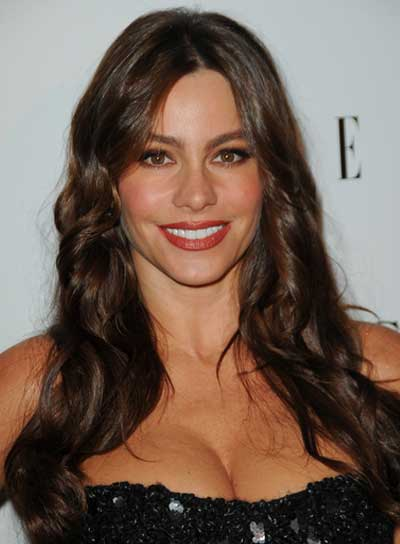 Sofia Vergara Long, Sexy, Curly, Brunette Hairstyle