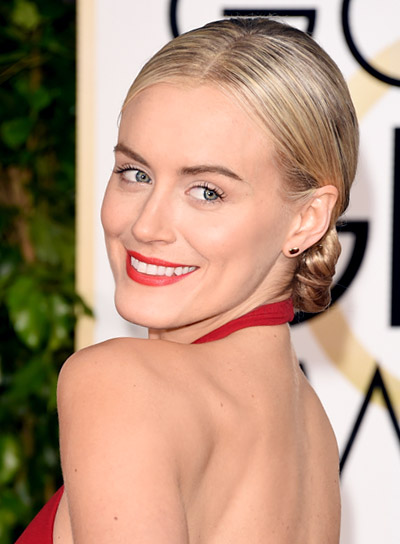 Taylor Schilling with a Chic, Blonde, Formal, Updo Hairstyle Pictures