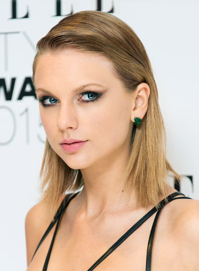 Taylor Swift Medium, Straight, Blonde, Edgy Hairstyle