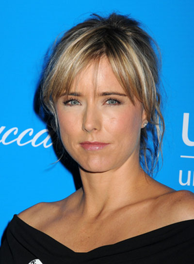 Tea Leoni Sexy, Blonde Updo with Bangs