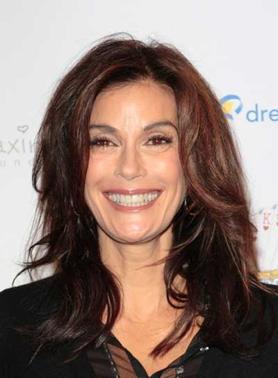 Teri Hatcher Medium, Tousled, Layered, Brunette Hairstyle