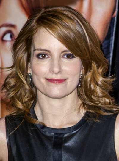 Tina Fey's Medium, Brunette, Curly, Formal Hairstyle