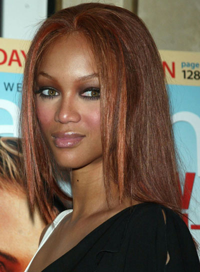 Tyra Banks Red, Medium-Length, Sedu Hairstyle