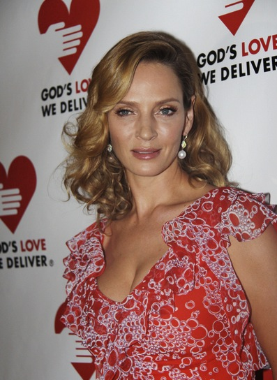 Uma Thurman Medium, Curly, Chic, Blonde Hairstyle