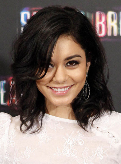Vanessa Hudgens' Medium, Brunette, Tousled, Party Hairstyle