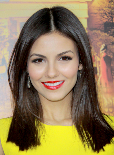 Victoria Justice's Medium, Brunette, Straight, Sophisticated Hairstyle
