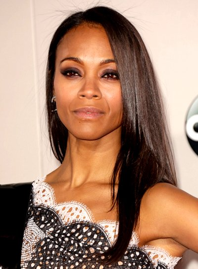Zoe Saldana Long, Black, Straight, Chic Hairstyle