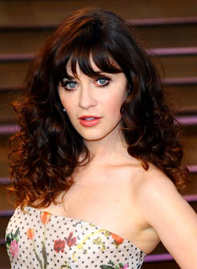 Zooey Deschanel Brunette, Tousled, Curly Hairstyle with Bangs