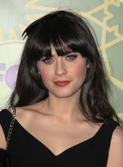 Zooey Deschanel Thick, Straight, Black Hairstyle with Bangs