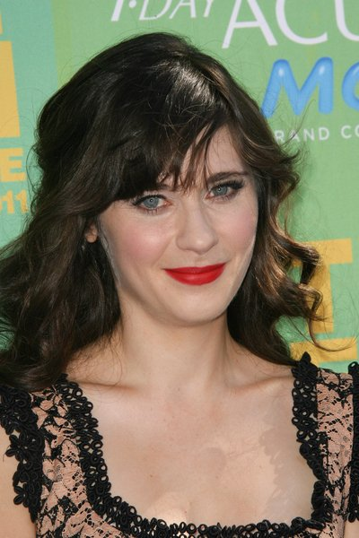 Zooey Deschanel Curly, Black Hairstyle