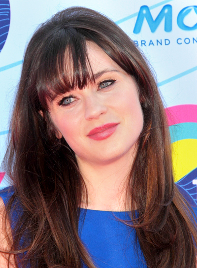 Zooey Deschanel's Long, Tousled, Brunette Hairstyle with Bangs