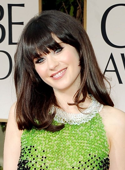 Zooey Deschanel Medium, Straight, Edgy, Black Hairstyle with Bangs